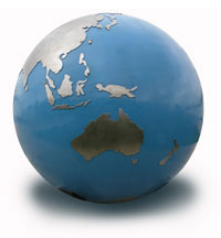 Globe of the world focused on Australia